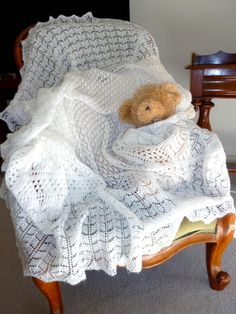 A baby's shawl knitted in 2 ply - so light and soft.