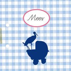 Birth announcement from Lievekaarten.nl   Nostalgisch geboortekaartje met etiket en silhouet van een wandelwagen met ooievaar