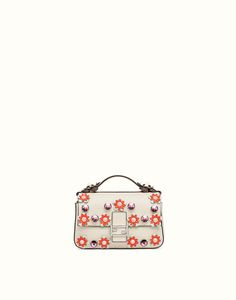 DOUBLE MICRO BAGUETTE - Micro bag in white leather with flowers. Discover the new collections on Fendi official website. Ref: 8M0371OYWF09C0
