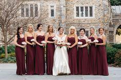 burgundy alone looks elegant against dormant background, and highlights the bride's white dress