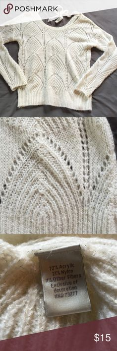 LC Lauren Conrad crochet sweater, xs This LC Lauren Conrad sweater is incredibly soft, with gold threads woven throughout the cream crochet pattern. Size is xs. LC Lauren Conrad Sweaters Crew & Scoop Necks