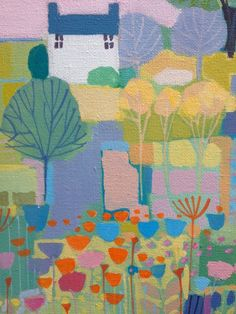 Original Acrylic Painting on Canvas House with Flowers - Signed Annabel Burton | eBay