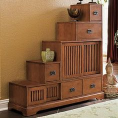 Tansu storage chests are great for placing in unusual and often unused spaces like areas under staircases.