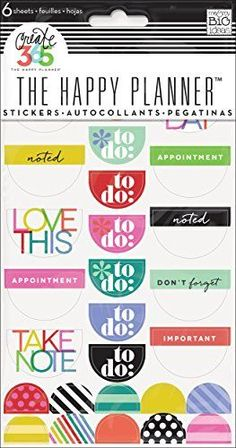 Super cute planner Stickers. me & my BIG ideas Create 365 The Happy Planner Brights. Affiliate