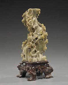 Old Chinese elaborately openwork carved soapstone vase; in the form of a bird perched at the foot of a flowering plant and rockery, on soapstone stand; Chinese Painting, Chinese Art, Chinese Embroidery, Indian Architecture, Fruit Art, Soapstone, Stone Carving, Types Of Art, Wood Sculpture