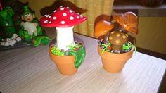 Fimo Pilze im Blumen Topf