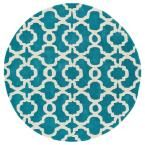 Revolution Teal (Blue) 7 ft. 9 in. x 7 ft. 9 in. Round Area Rug