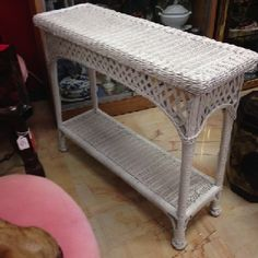 Light And Casual White Wicker Sofa Table For Your Living Room Or Lanai 36