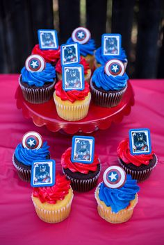Captain America Party Cupcakes #HeroesEatMMs #Shop