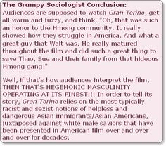 The Grumpy Sociologist: Hegemonic Masculinity Run Amok in Gran Torino Hegemonic Masculinity, Gran Torino
