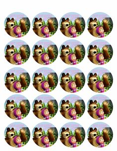 Masha and the Bear - Edible Cake Topper or Cupcake Toppers – Edible Prints On Cake (EPoC) Edible Cake Toppers, Birthday Cake Toppers, Cupcake Toppers, White Wedding Cakes, Wedding Cakes With Flowers, Flower Cakes, Purple Wedding, Gold Wedding, Masha Cake