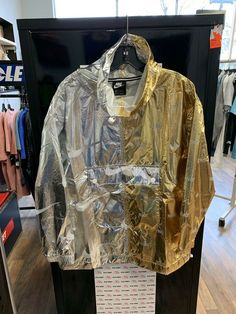 5a35c424 New Sz M Womens Nike NSW Silver Gold Metallic Pull Over Jacket. AJ0104-751  #fashion #clothing #shoes #accessories #womensclothing #activewear (ebay  link)