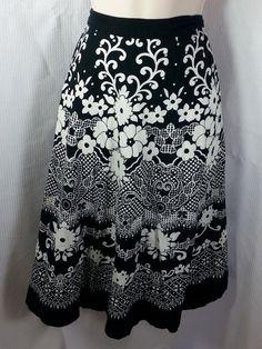 Studio West Skirt Size XL Black & White Floral Cotton Full Knee Full Elastic #StudioWest #FullSkirt