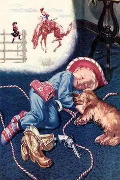 Vintage Cowboy - Little Buckaroo - 18x24 Print for Framing