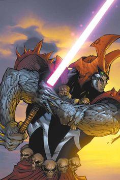 Samurai Spawn with a light saber. Comic Book Characters, Comic Character, Comic Books Art, Comic Art, Spawn Characters, Spawn Comics, Arte Dc Comics, Anime Comics, Image Comics