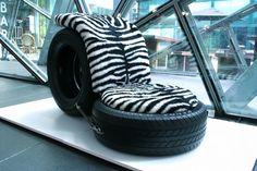 gebrauchte autoreifen diy liege zebra muster auflage - ohne Anleitung Mehr
