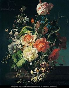 ❀ Blooming Brushwork ❀ - garden and still life flower paintings - Still life of flowers - Rachel Ruysch, 17th century