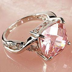 Amazon.com: Women Fashion Pink & White Gemstone Engagement Ring Wedding Band Rings Size 6-8 EW (7 #): Home & Kitchen