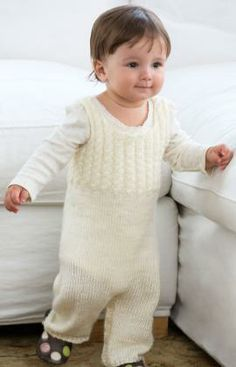 Cabled Baby Overalls Free Knitting Pattern from Red Heart Yarns                                                                                                                                                                                 More
