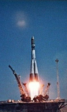 """Launch of """"Vostok 1"""", Russian spacecraft, from Baikonur Cosmodrome. The first manned space flight with Yuri Gagarin, a Russian cosmonaut. 12 April 1961. #space #Russian #cosmonaut"""