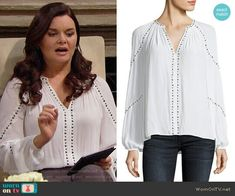 Katie's white studded top on The Bold and the Beautiful. Outfit Details: https://wornontv.net/90659/ #TheBoldandtheBeautiful