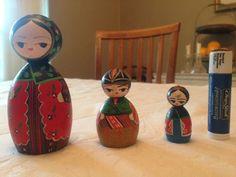 Handpainted Solid Wooden Miniature Dolls (not nesting)