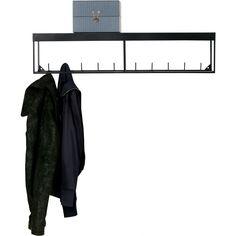 Woood Meert Garderobe mit Ablagefläche 20 x 90cm aus Metall, schwarz