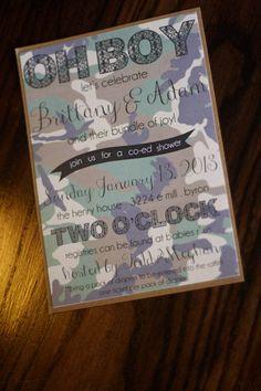 CUSTOM camo baby shower invitation