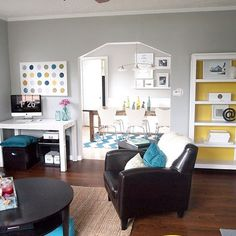 Inexpensive flooring: TrafficMaster Allure @ $1.50/sq: vinyl plank flooring  Repinning for the flooring, but I also love the grey wall color and the overall airy, simple feel to the room.