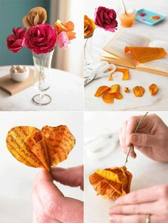 These are so pretty! I think I'll try making these this weekend…Just have to find some old books to use or maybe some newspaper