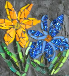 mosaic art by kat gottke Mosaic Wall Art, Mosaic Tiles, Tiling, Mosaic Flowers, Glass Flowers, Concrete Projects, Mosaic Projects, Stained Glass Patterns, Mosaic Patterns
