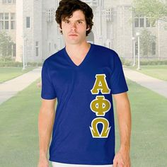 Alpha Phi Omega V-Neck T-Shirt - Vertical - American Apparel 2456 - TWILL