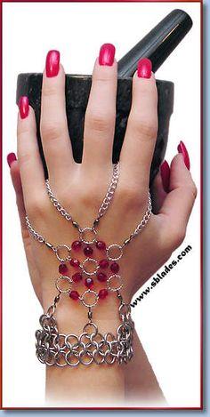 Amira handflower chain-mail jewelry, Slave bracelet, Renaissance fair bracelet by Chainmail & More