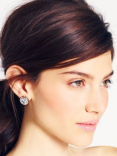 BASKET PAVE studs, clear/silver