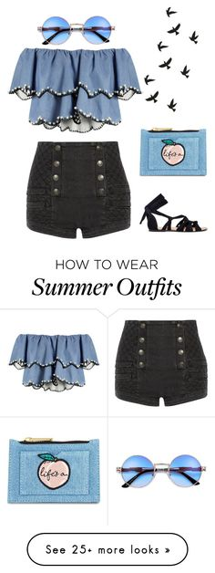 """Minimal Summer Outfit II"" by cristina-barberis on Polyvore featuring HUISHAN ZHANG, Pierre Balmain and Skinnydip"