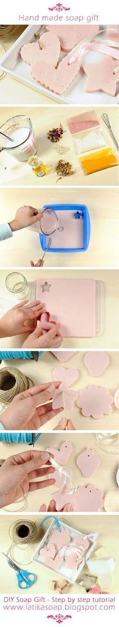 How To Make A Hand Made Soap Gift: Glycerin soap base- Clear or white Microwave safe measuring cup Spoon- To mix in the color and scent Fragrance Oil or Essential oil Soap color (more details below) Cookie cutters- To make fun shapes Mold- (more details below)