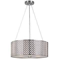 """Lite Source 20"""" Wide 3-Light Polished Steel Pendant Light"""
