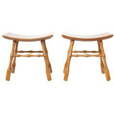 1stdibs.com | Pair of Asian Style Walnut Stools