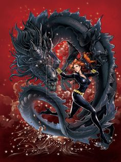 Black Widow with Black Dragon by ~daxiong on deviantART