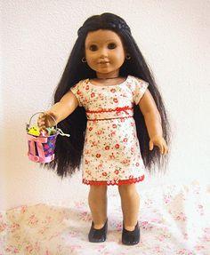 AG doll dress inspired by Josefina's Christmas dress that I created using the Liberty Jane baseball shirt pattern. http://www.libertyjanepatterns.com/2010/03/american-girl-doll-clothes-baseball-tee-pattern.html