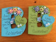 My try at being crafty! I asked my brother and sister to be my son's godparents…