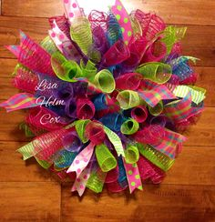 BRIGHT colorful curly mesh wreath pink, teal, lime green, purple.