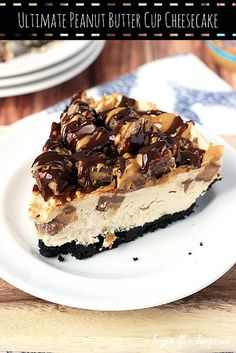 Ultimate No-bake Reese's Peanut Butter Cup Cheesecake. Thick chocolate cookie crust, rich peanut butter cheesecake filling packed with Reeese's Peanut Butter Cups, and topped with more peanut butter and chocolate.