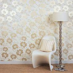Elegante Wandtapeten Goldene Blumen Schicke Möbel
