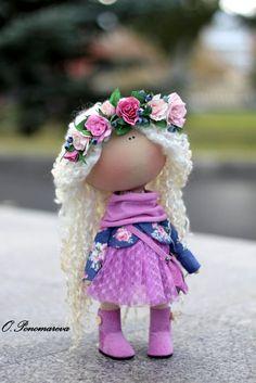 Textile doll Fabric doll Tilda doll Violet doll Curly doll