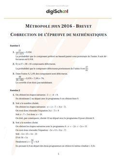 Corrigé Mathématiques - Brevet des Collèges Métropole 2016
