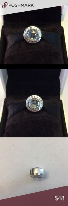 Authentic Pandora Family Forever Charm. Sterling Silver with 2 Big Crystal Cz's. Hallmark Stamp S 925 ALE. The Pandora Hinged Box is included. Thank you. Pandora Jewelry