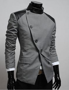 Casual unbalanced button jacket from Thelees. Grey...or black: http://theleesshop.com/shop/step1.php?number=8447