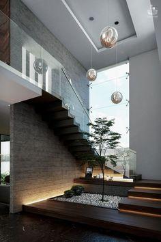 見せ場は階段。 | Modern Glamour モダン・グラマー <美とクローゼットの法則> Home Stairs Design, Home Room Design, Small House Design, Dream Home Design, Modern House Design, Modern Stairs Design, Modern House Facades, Modern Architecture House, Modern Houses