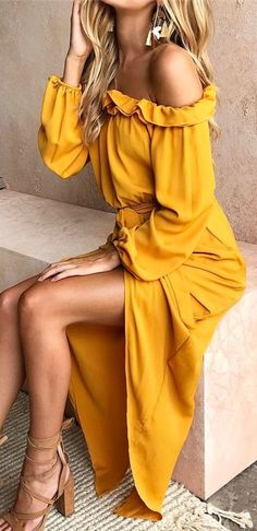 #summer #outfits Yellow Ruffle Off The Shoulder Maxi Dress✨ #casualsummeroutfits